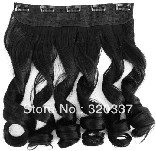 Featured Womens Curly Hair Heat Resistant Hairpieces Synthetic Hair Clip in Hair Extensions #1B Black Hair for Women<br><br>Aliexpress
