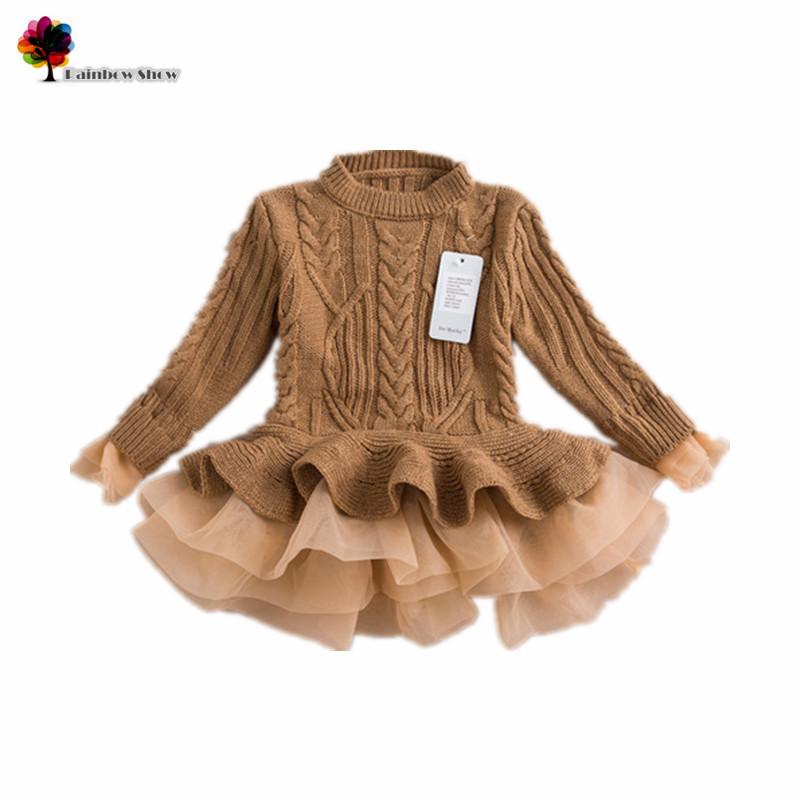 New Children Clothing Autumn Winter Girls Fashion Sweater Ruffles Dress Girls Sweater Girls Dress<br><br>Aliexpress
