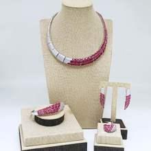 Viennois Grün/Rot Farbe Halskette Set Für Frauen Strass Baumeln Ohrringe Ring Armband Set Partei Schmuck Set 2019(China)