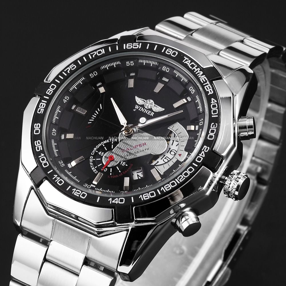 HK Post Free Ship WINNER Men's Automatic Mechanical Date Display Analog Silver Stainless Steel Strap Sports Wrist Watch/ PMW103(China (Mainland))
