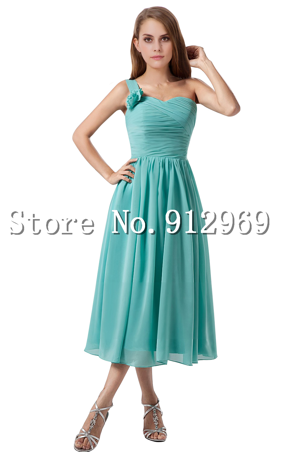 New arrival one shoulder chiffon bridesmaid dresses tea for Amazon wedding guest dress