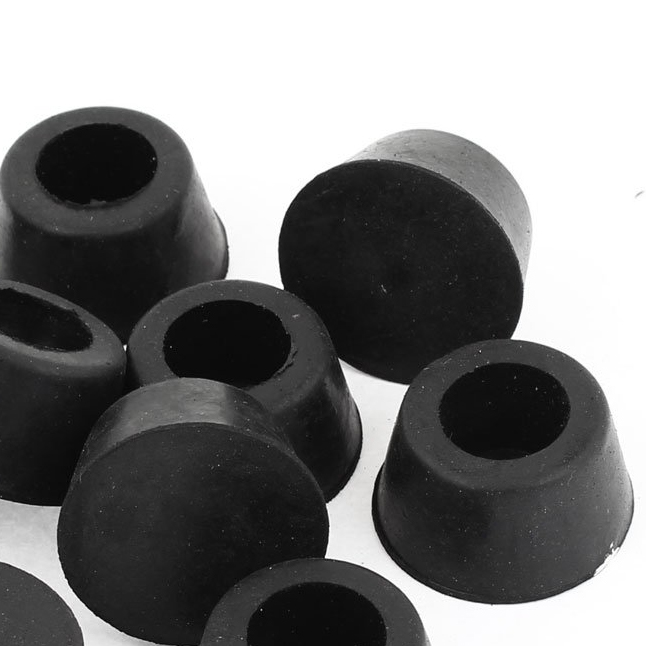 Best selling 10 Pcs 15mm Dia. Cone Shaped Furniture Black Rubber Foot Covers Pads(China (Mainland))