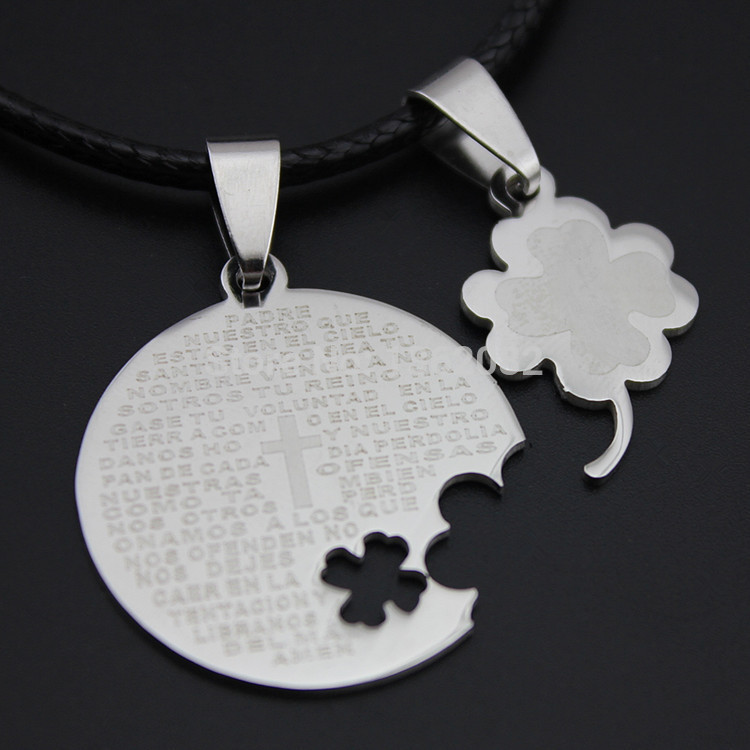 Fashion Boy Girls Stainless Steel Prayer Cross Bible Text Clover Couple Pendant Necklace Gift YN461(China (Mainland))