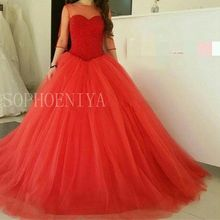 Gorgeous Custom made Red Evening dresses Long Ball gown Hand Beading Three quarter sleeve Formal dress to Party evening(China (Mainland))