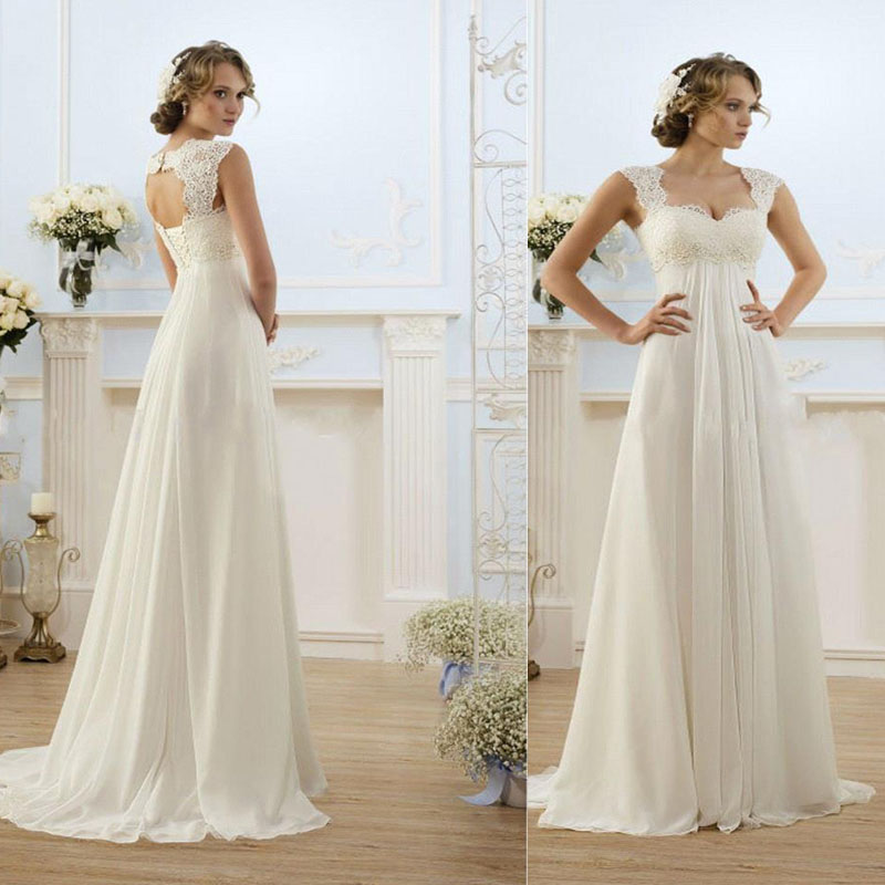 Sexy beach empire plus size maternity wedding dresses cap for Plus size maternity wedding dresses