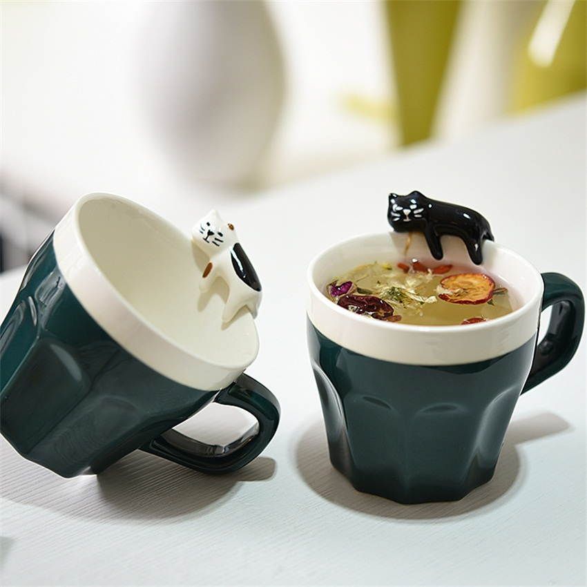 2pc/lot Valentines Gift Creative fashion 300MLcup ceramic 3d cat mug cartoon birthday married mug water cup lovers cup(China (Mainland))
