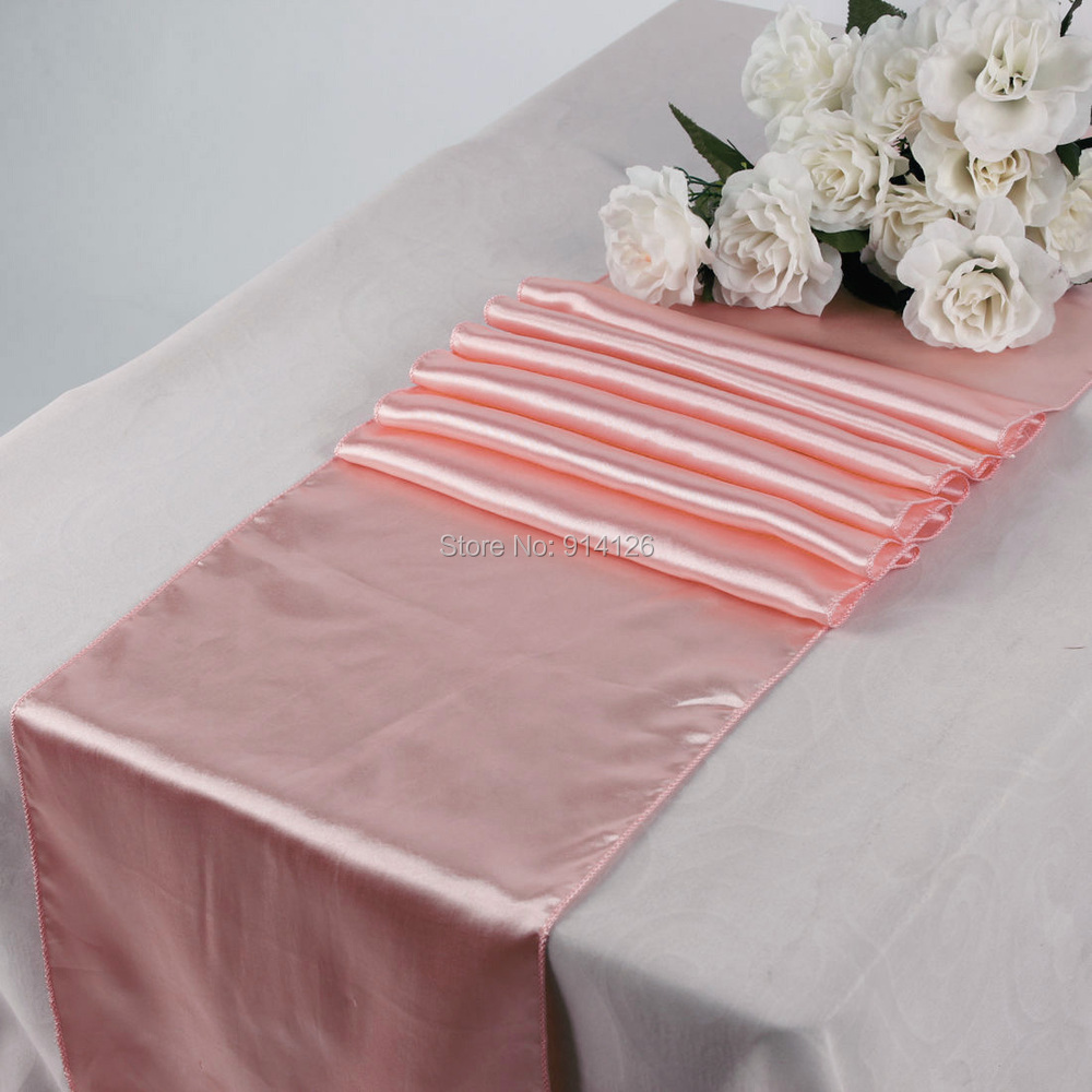 "High quality Free Shipping New Peach baby pink Satin Table Runner 12"" x 108'' Wedding Party Banquet Decorations 30cm x 275cm(China (Mainland))"