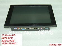 Fanless Design 10.4 inch Touch Screen All In One PC POS Terminal Computer Intel Atom CPU N270 2G 320GB VESA STAND(China (Mainland))