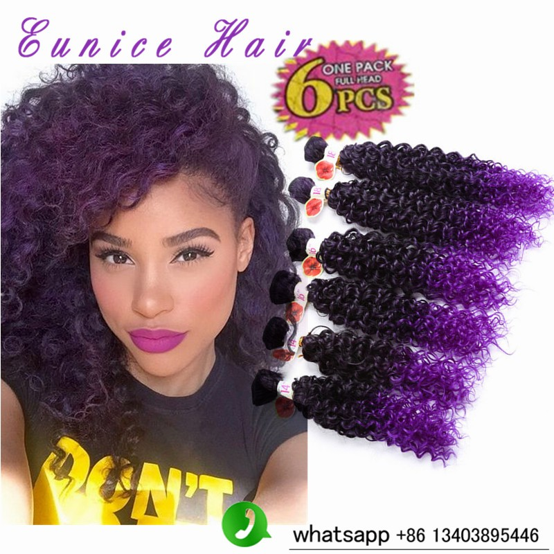 kinky curly synthetic hair ombre purple   jerry curly crochet hair (9)