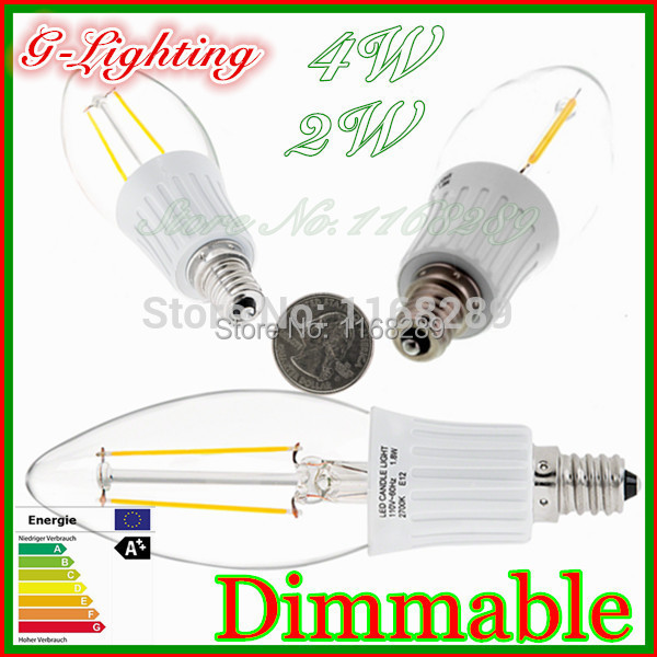 10 pc/lot 100lm/w led bulb e14 dimmable 4W filament led dimmable e27 5W warm white glass cover led filament bulb home lighting(China (Mainland))