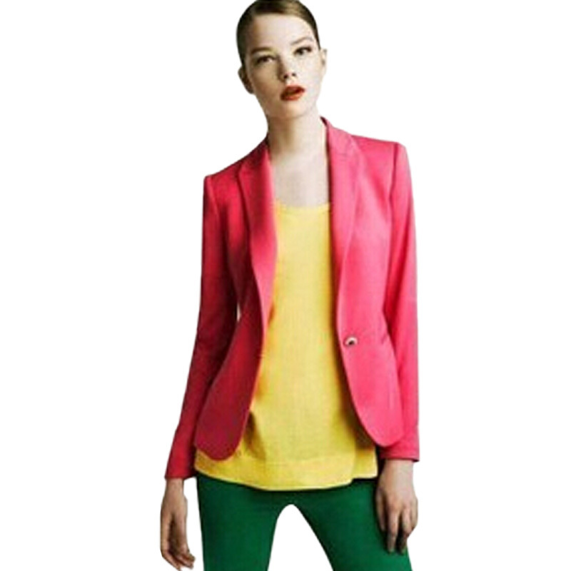 Free Shipping Spring 2015 New Clothing Womens Cotton Blend Blazer Long Sleeve Candy Color Coats And Jackets #P0145(China (Mainland))