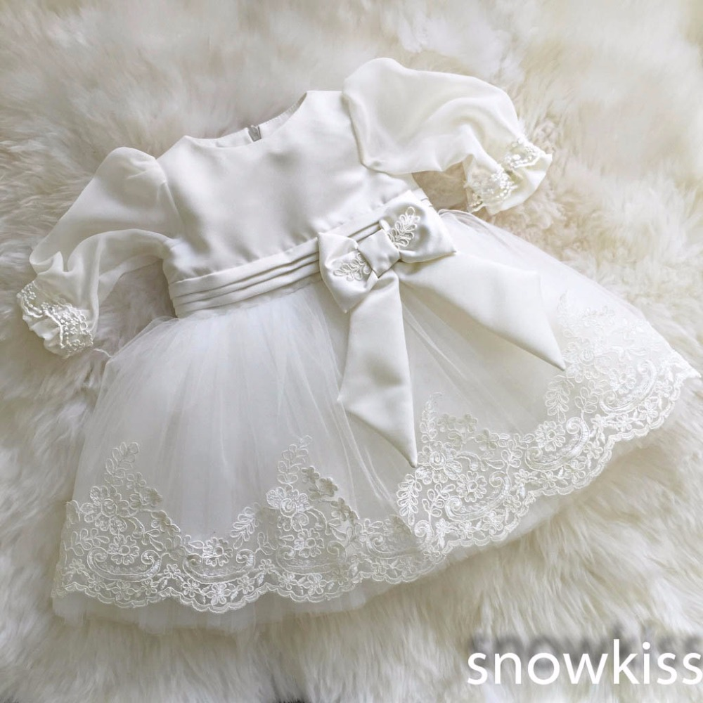 New vintage white/ivory christening gowns for infant baby boy girls toddler lace satin ankle-length baptism dress with bonnet(China (Mainland))