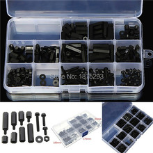 260pcs M3 Black M-F Hex series nylon screws, nuts, PCB board height hexagon spacer kit complete With box #120288