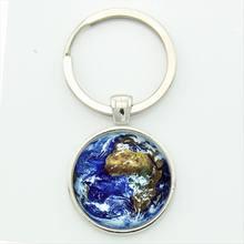 LLavero de mundo de la tierra encantador tono azul Planeta Tierra foto astronómica llavero joyería recuerdo especial regalo llavero(China)