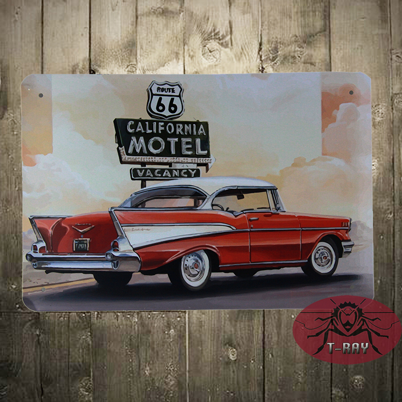 Vintage Style Route 66 California motel Steel Wall Plaque Sign(20x30cm) D-06(China (Mainland))