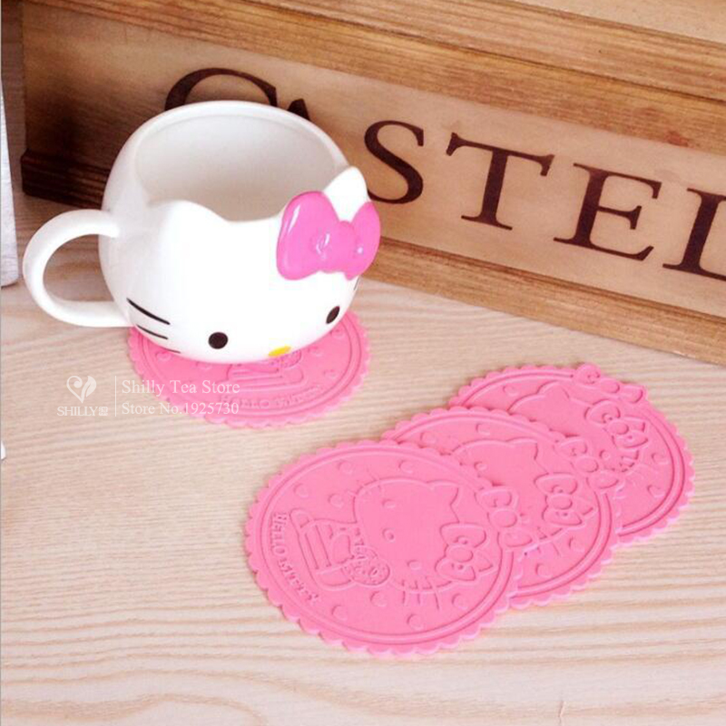 Hello Kitty Cute silicone dining table placemats coaster kitchen accessories mat cup mug colorful placemats coaster mats & pads(China (Mainland))