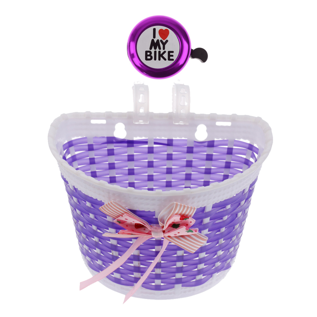 Bicycle Front Basket Bowknot Bike Shopping Holder for Children Kids Purple