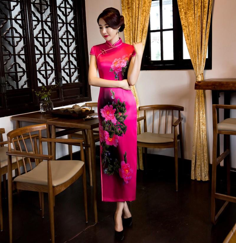 มาใหม่สตรีผ้าไหมยาวCheongsamจีนแฟชั่นสไตล์การแต่งกายที่สวยงามบางQipaoรสเสื้อผ้าขนาดSml XL XXL F072647 ถูก