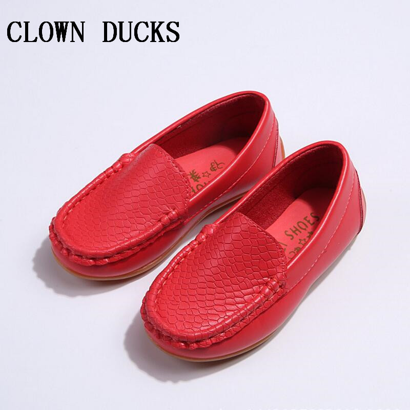 Clown Ducks New Kids shoes Children PU Leather Sneakers Boys Girls Shoes Slip Candy Color Soft Rubber Outsole. - Guangzhou store
