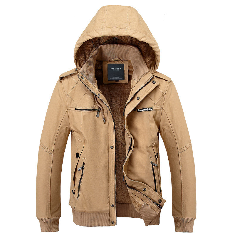 Thicker Winter Coat Cotton Down Coat Men's Fashion Casual Military Wind Jacket High Quality Feather Jackets Man 3 Colors(China (Mainland))