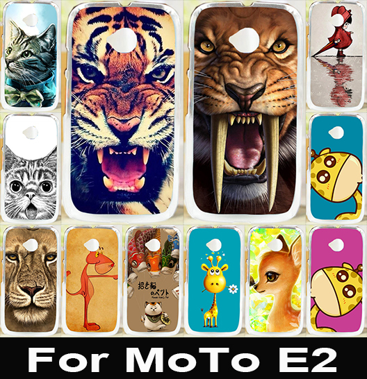 Best Selling Print Lion Tiger OwL Painted Hard PC Cover Case For Motorola Moto E2 E 2nd Gen Case Cover For Moto E2 E+1 Skin(China (Mainland))