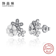 Buy Forewe 100% 925 Sterling Silver White Poetic Daisy Cherry Blossom Stud Earrings Mixed&Clear CZ Flower Women Engagement Jewelry for $5.29 in AliExpress store