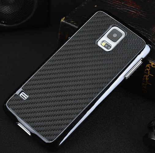 S5 Business Style Carbon Fiber Chromed Edge Hard Case Samsung Galaxy SV I9600 S 5 5.1 inch Plastic phone Cases Back Cover - UTOPER Official Store store