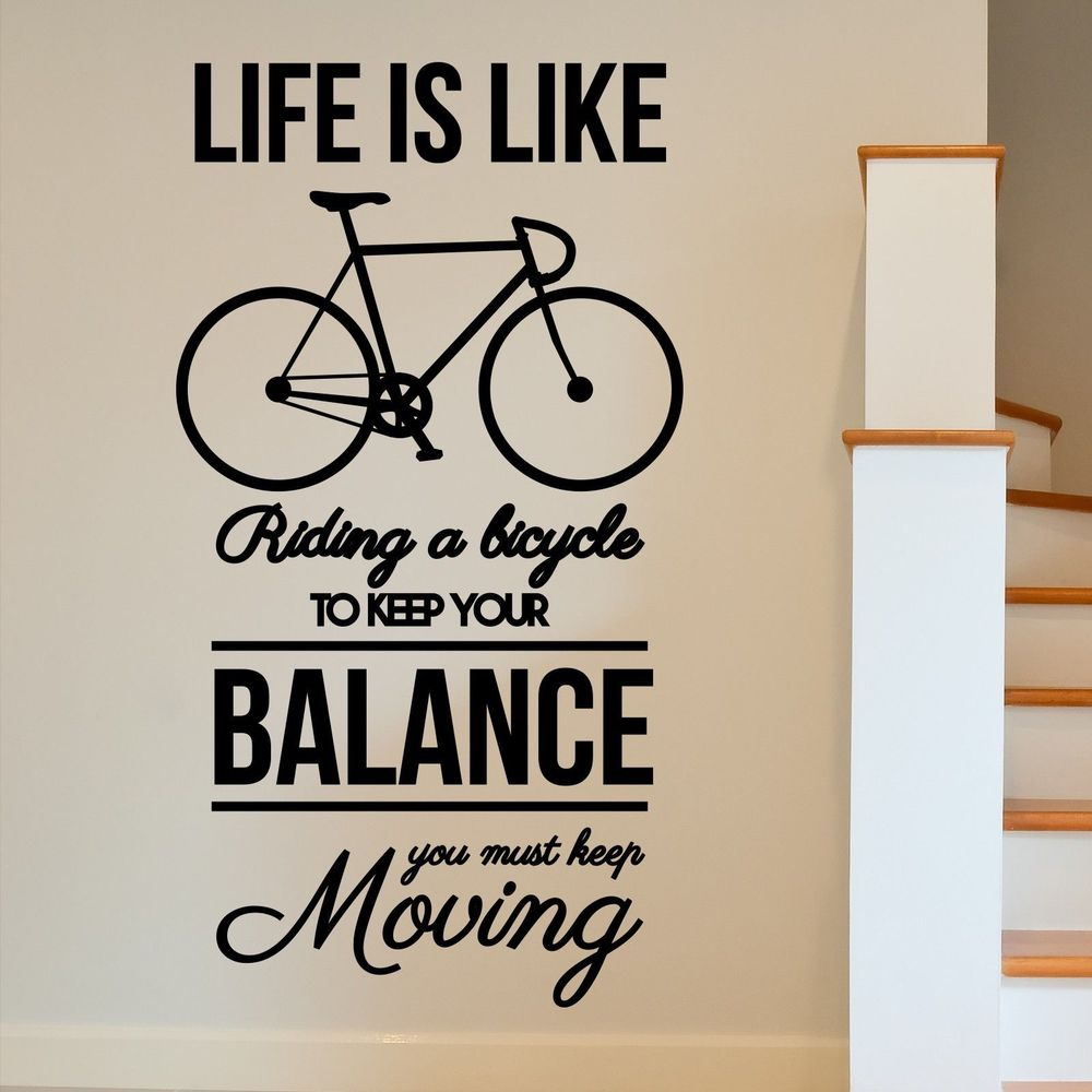 motivational bike inspirational moving wall art sticker decal home diy decoration decor wall. Black Bedroom Furniture Sets. Home Design Ideas