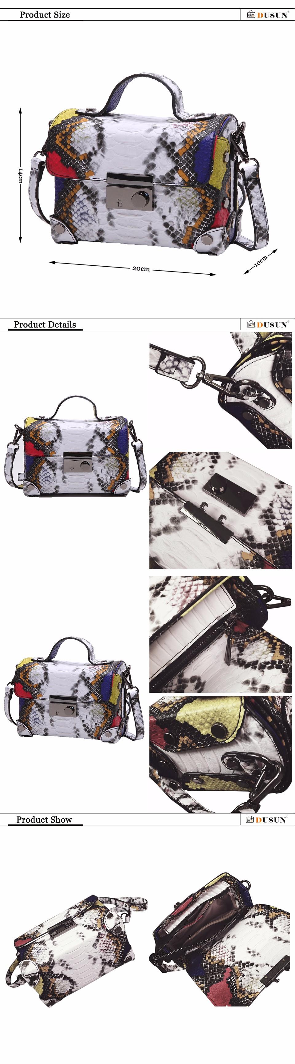 DUSUN Luxury Brands Messenger Bag Casual Women Bag Handbags Fashion Colorful Serpentine Tote Vintage Style Small Messenger Bag