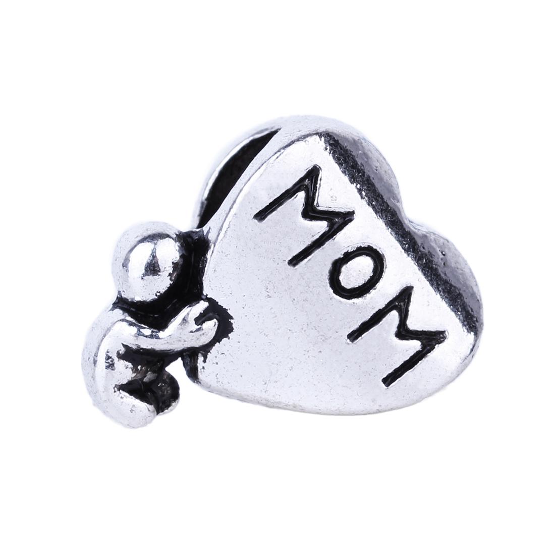 Free Shipping 1pc Silver Mom Heart Alloy Bead DIY European Big Hole Beads Fits Charm Pandora