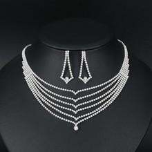 Mecresh קריסטל כלה חתונת תכשיטים אפריקאים סטי חרוזים כסף צבע ריינסטון נשים שרשרת סטי תכשיטי אירוסין MTL475(China)