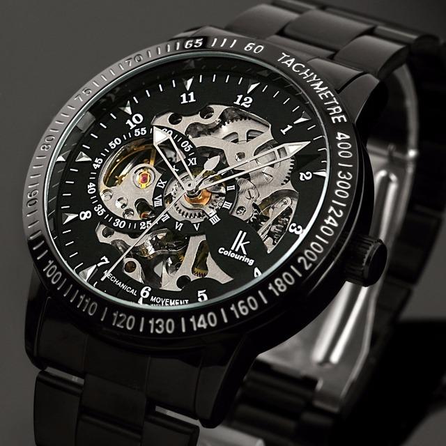 Бренд IK мужские спортивные часы из нержавеющей стальной каркас автоматические механические часы мужчины стимпанк военные часы Relogio Masculino