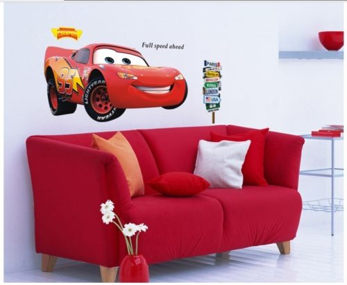 NEW CARS 2 BiG LIGHTNING MCQUEEN Quote Wall Sticker ART Decals Mural kid decor(China (Mainland))