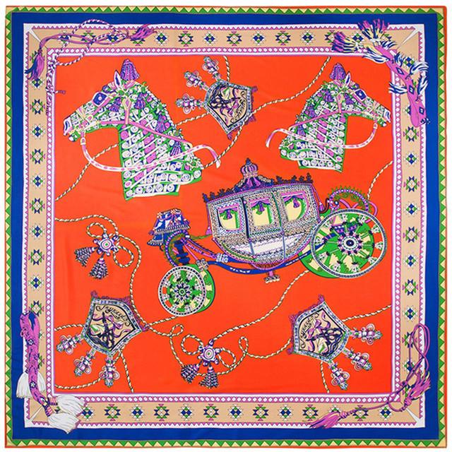 130 см * 130 см 100% чистого шелка евро фирменный стиль женщины геометрическая верховая и перевозки шелковая косынка Femal мода платки