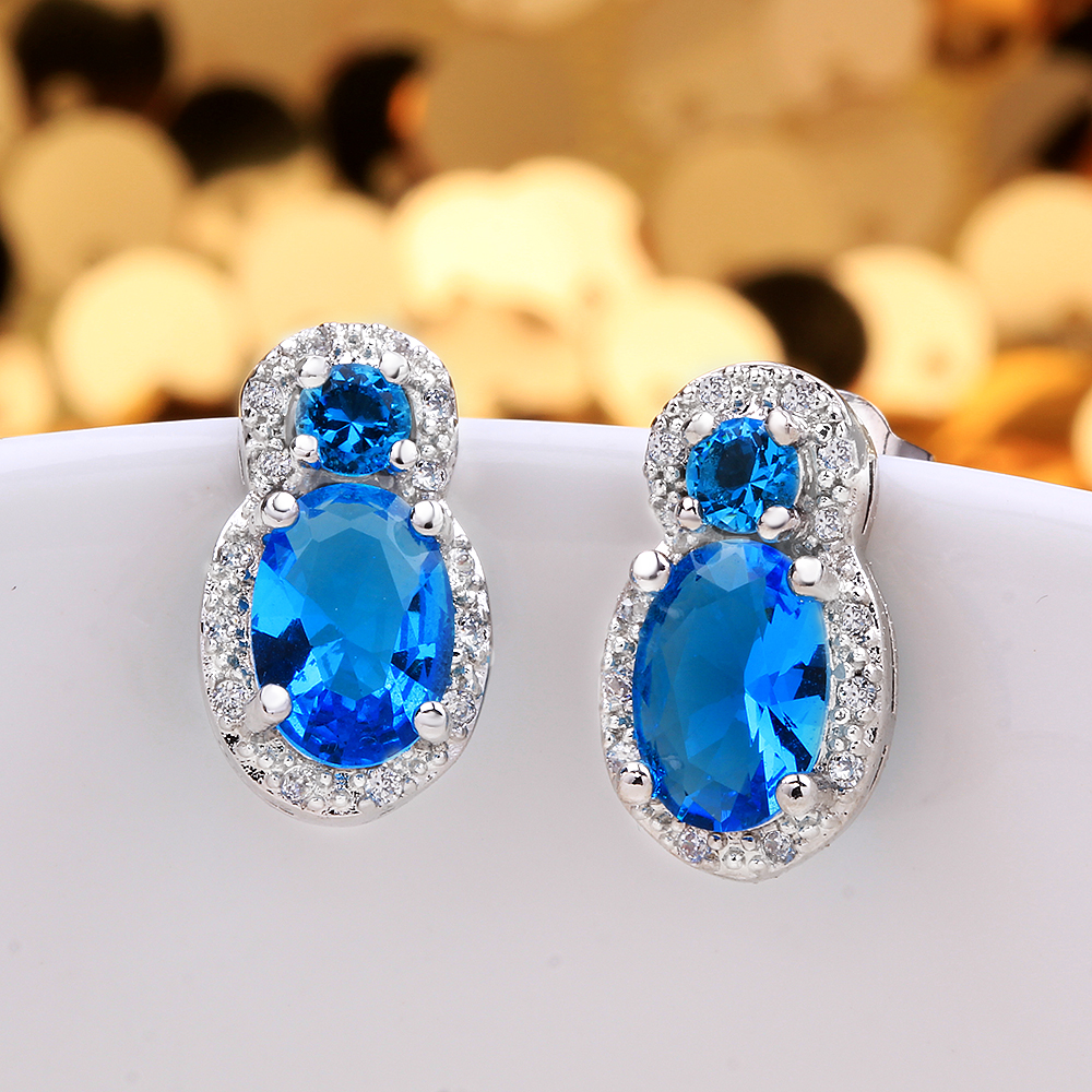 Brincos Brinco White Gold Plated Zircon Stud Earrings for Women Sapphire Blue Big Crystal Peanut Women Earrings Studs Pendientes(China (Mainland))
