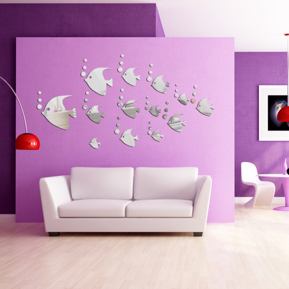 Lovely fish modern room decal art wall paper home decor mirror wall stickers in wall stickers Home decor wall art contemporary