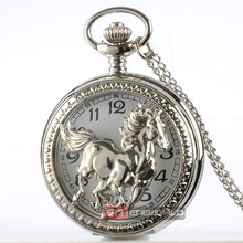 Silver Hollow Horse Style Quartz Pocket Watch Steampunk Necklace Pendant Gift Watch P363