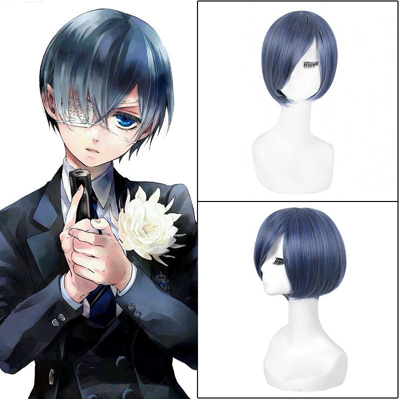 Anime Black Butler Ciel Phantomhive cosplay wig new fashion women men s Short gray and blue