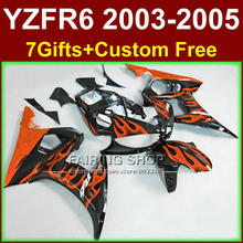 Buy Plastic orange flames in black fairing parts for YAMAHA ABS fairings YZF R6 2003 2004 2005 fairing kit r6 03 04 05 KU6F for $325.50 in AliExpress store