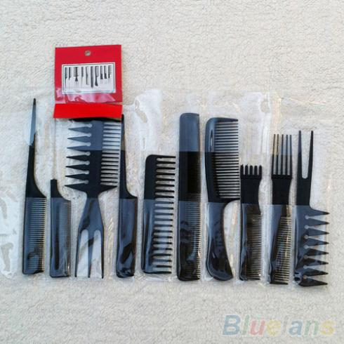 10Pcs Black Pro Salon Hair Styling tools Hairdressing Plastic Barbers Brush Combs Set 1Q7O 2WBO(China (Mainland))