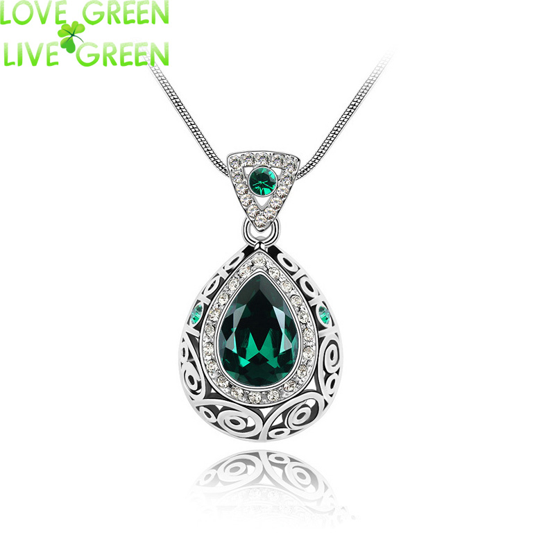 2016 vintage quality wedding bridal18K Gold Plated Angel Ocean Tear Design green crystal Pendant fashion Necklace Jewelry 84191(China (Mainland))