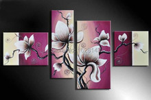 Buy Free 4 Panels purple flower Painting Canvas Wall Art Picture Home Decoration Living Room Canvas art Modern Painting 96b for $36.83 in AliExpress store