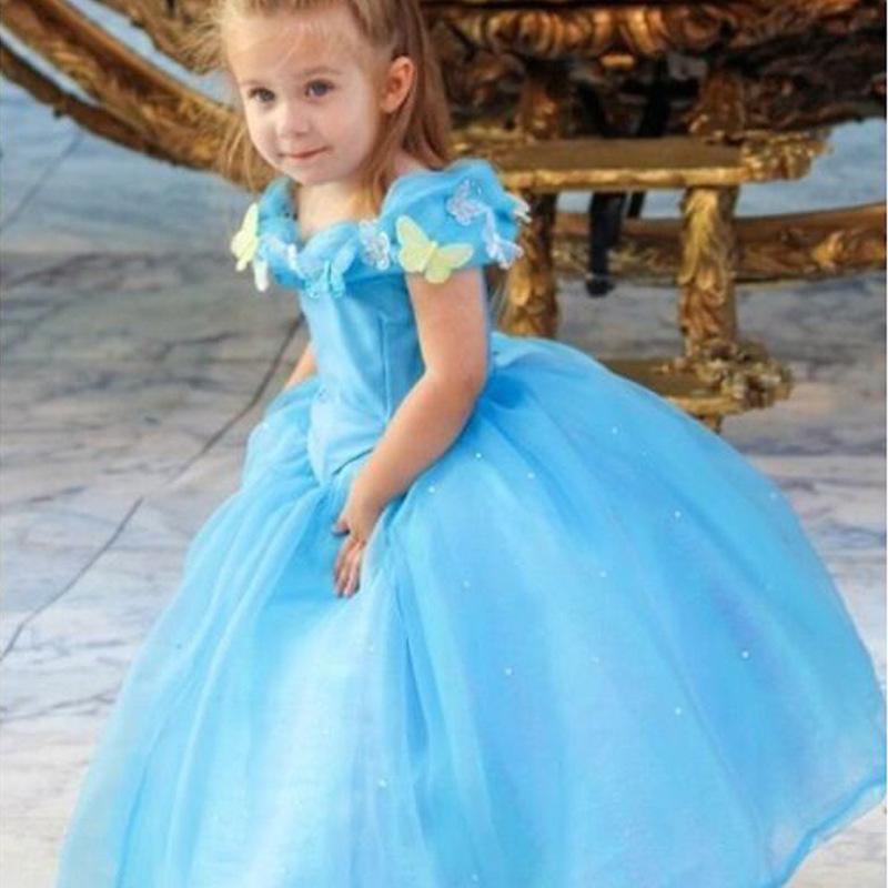 Luxury Kids Butterfly Dresses 2015 New Summer Girls Cartoon Cinderella Dress Retail Children Fashion Evening Party Dress 1pcs(China (Mainland))