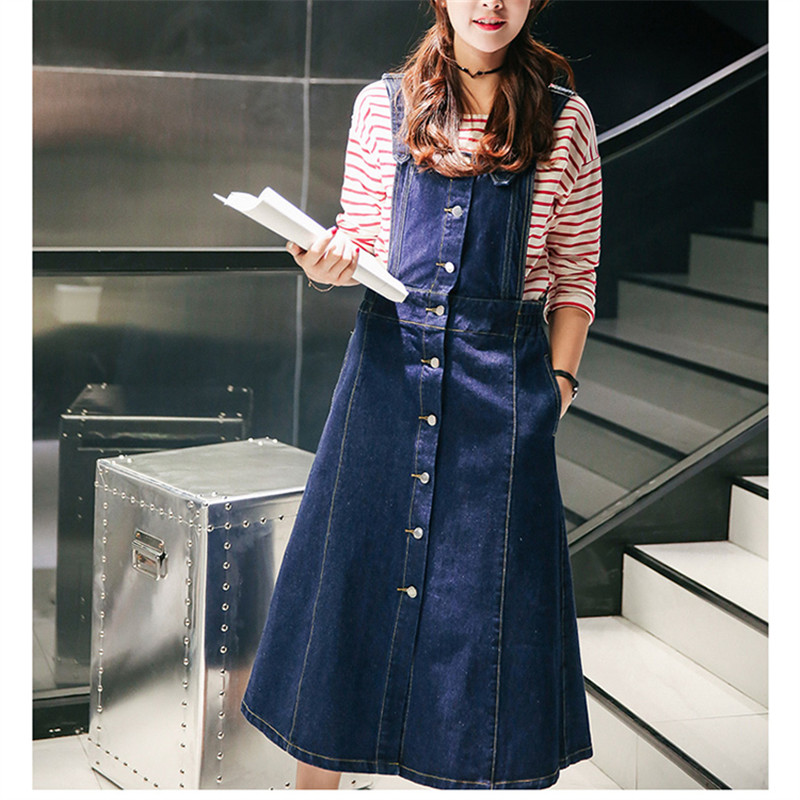 Maxi Blue Jean Dresses For Women 2016 New Summer Gece Elbisesi XXL Large Size Button Front Denim Overalls Long Suspender Dress(China (Mainland))