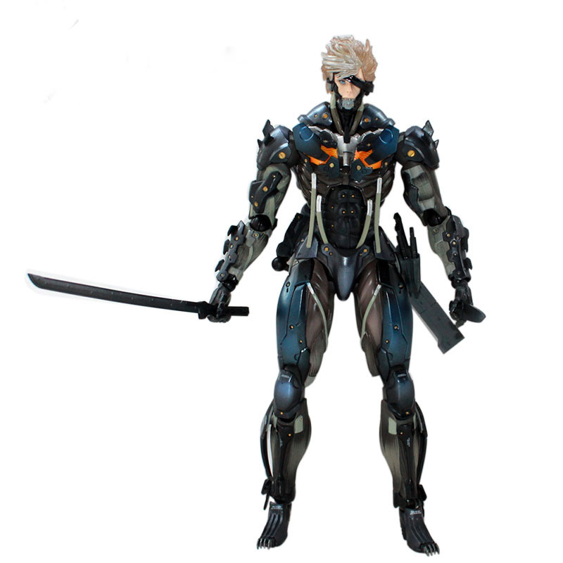 28cm Game Top Quality Metal Gear Solid Raiden With Gun And Sword Ver. Play Arts Kai PVC Action Figure Toys Collectors Model(China (Mainland))