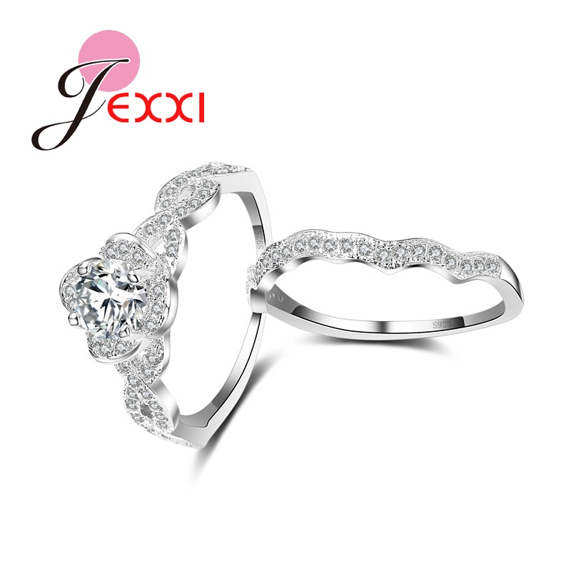 JEXXI Wave Design Romantic 925 Sterling Silver Rings Jewelry Full Clear Cubic Zirconia Crystal Rhinestone Bridal Wedding Sets(China (Mainland))