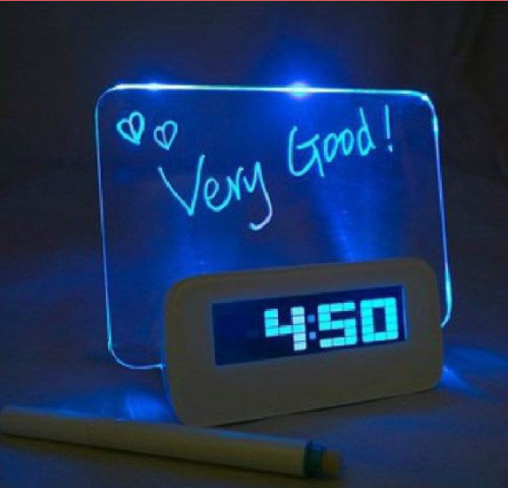 Blue Green Led Alarm Clock With Message Board Calendar Thermometer Lazybones Alarm Clock Free Shipping(China (Mainland))