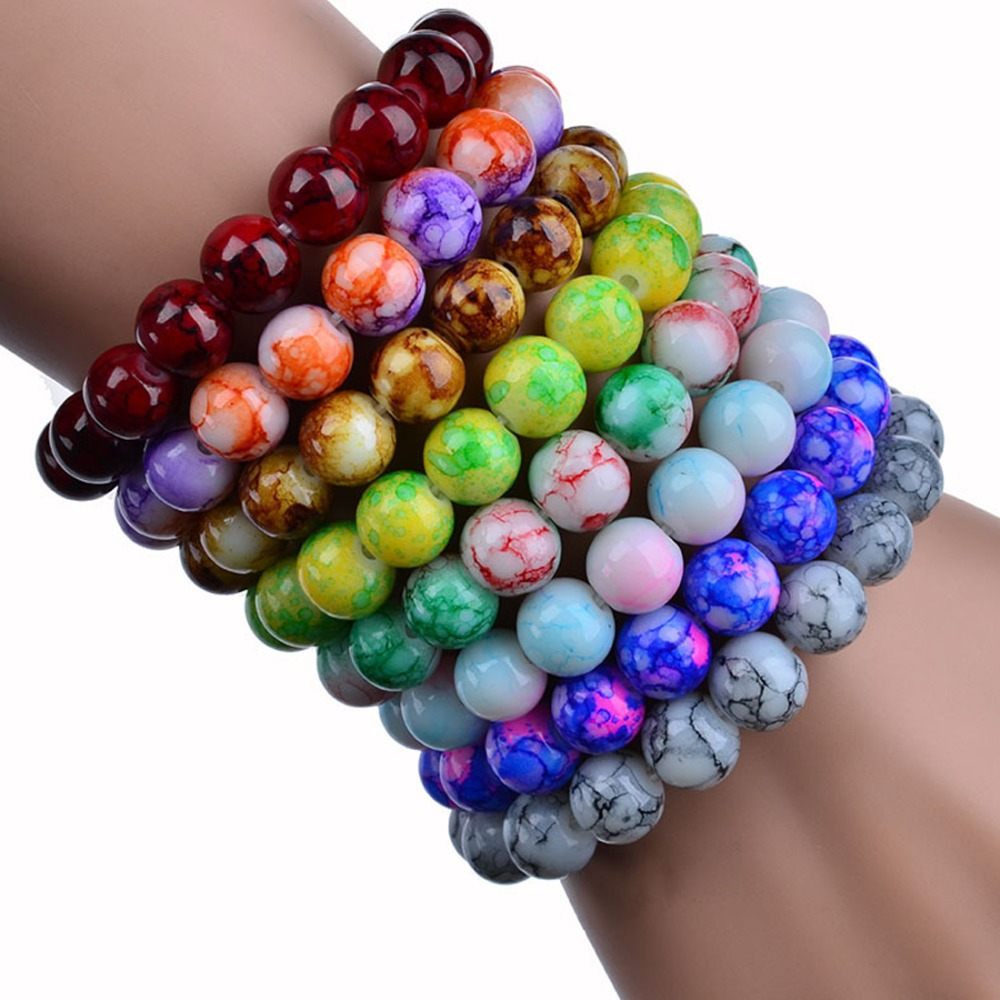 Cheap AAA+ Quality 2015 Handmade Natural Stone Glass Beads Charm Bracelets for Fashion Jewelry Gifts Free Shipping Wholesale(China (Mainland))