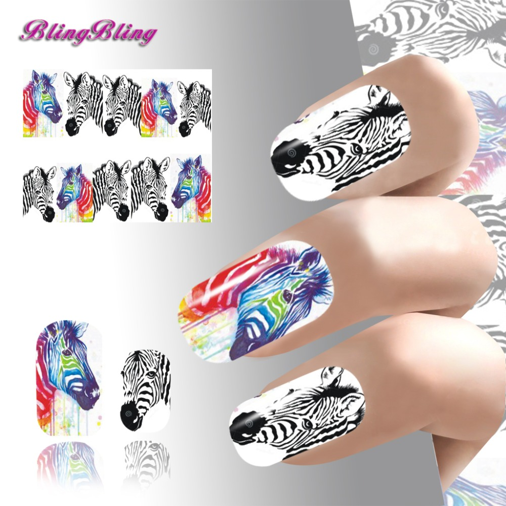 New Animal Design Nail Stickers Colorful And Black Zebra Pattern Water Transfer Nails Art Manicure Wrap Finger Nail Decals(China (Mainland))