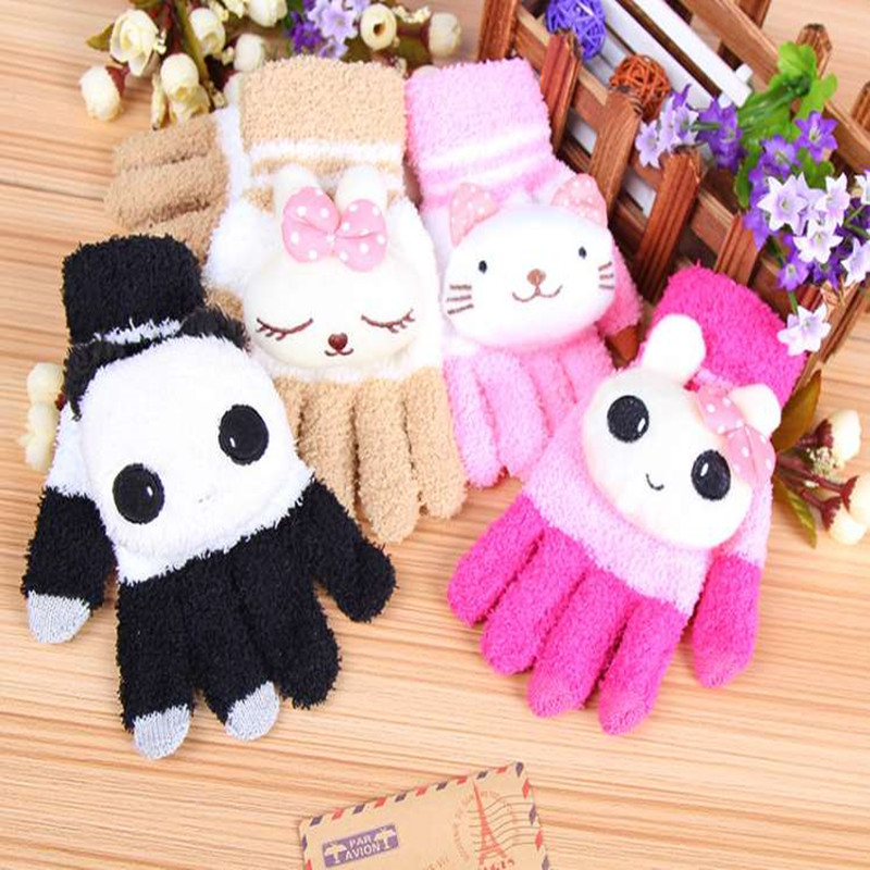 Children Lovely Cartoon Gloves Animal Design Panda Cat Rabbit Glove Women Winter Knit Wool Mittens Girls Kids Screen Luvas(China (Mainland))